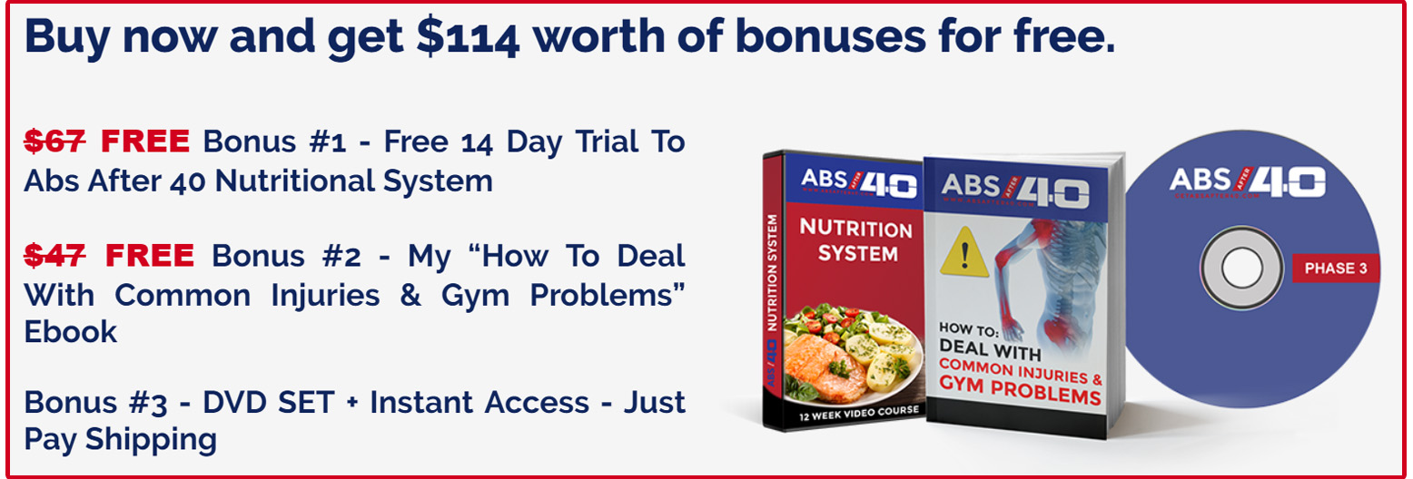 Abs After 40 workout course bonuses