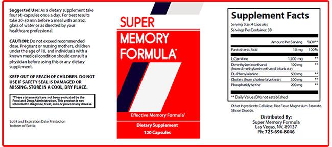 Super Memory Formula supplement