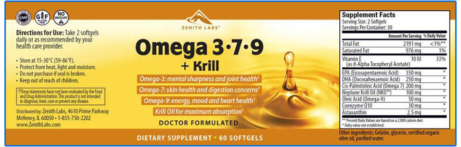 Omega 3-7-9 + Krill Ingredients
