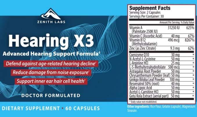Hearing X3 ingredients