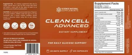 Clean Cell Advanced ingredients
