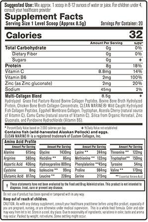 Clean Sourced Collagens Supplement Facts