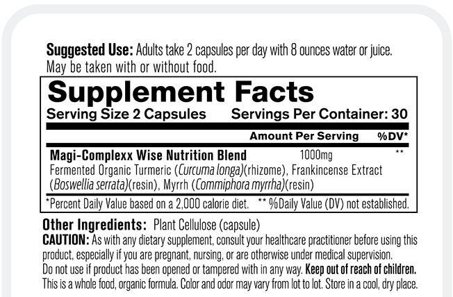 Organixx Magi Complexx Supplement Facts