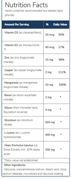 Ultimate Bone Support Ingredients