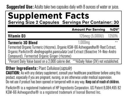 Organixx Turmeric 3D Supplement Fact