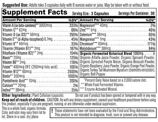 Multi Vita Maxx Supplement Facts