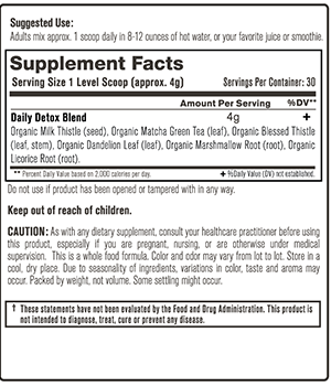 Organic Daily Detox Supplement Facts