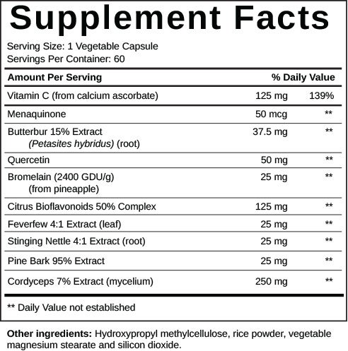 Vitapost Lung Support supplement facts