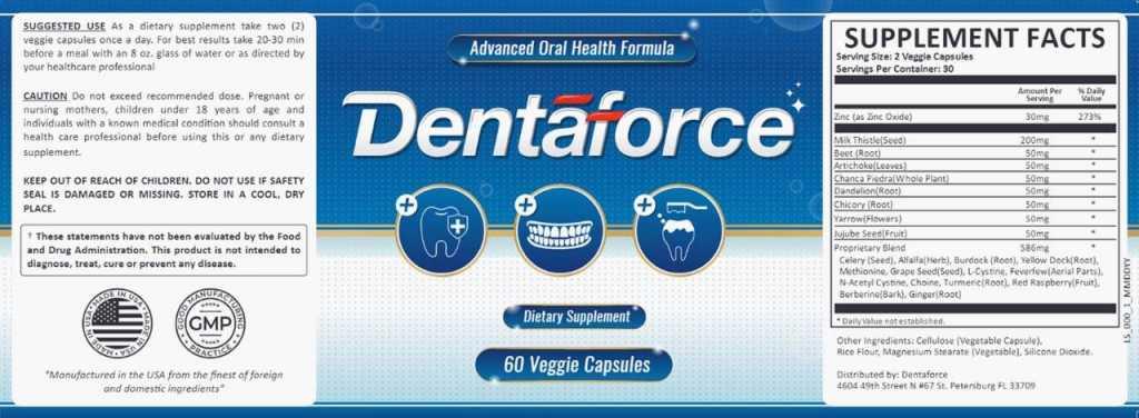Dentaforce Supplement Facts