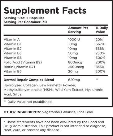 Dermal Repair Complex Supplement Facts