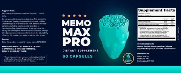 Memo Max Pro Supplement Facts