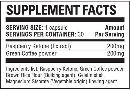 Raspberry Ketone Max Supplement Facts