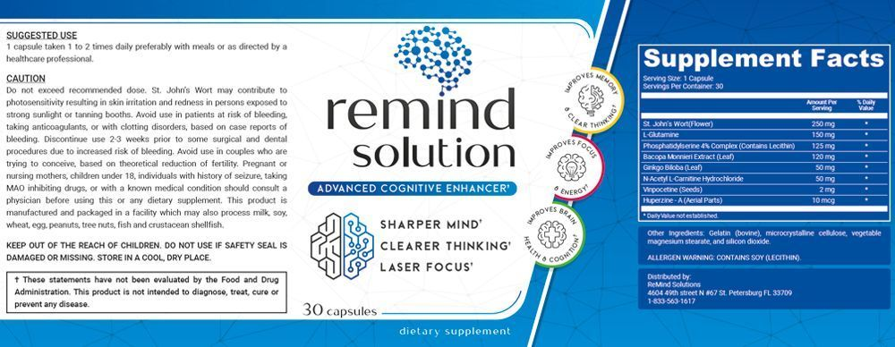 ReMind Solution Supplement Facts