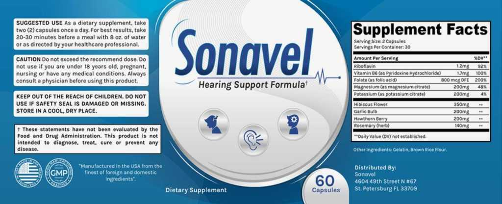 Sonavel Supplement Facts