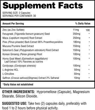 NiagaraXL Supplement Facts