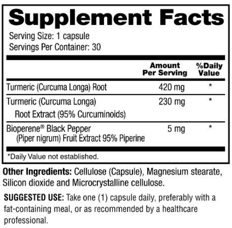 TurmericBP Plus Supplement Facts