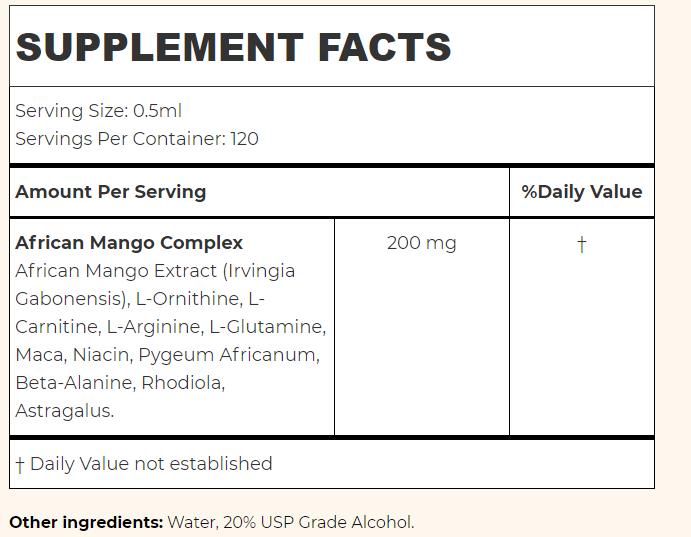 Viva Slim Supplement facts
