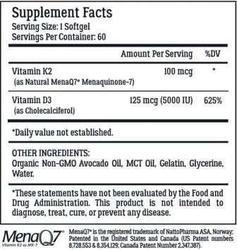 K2+D3 ingredients